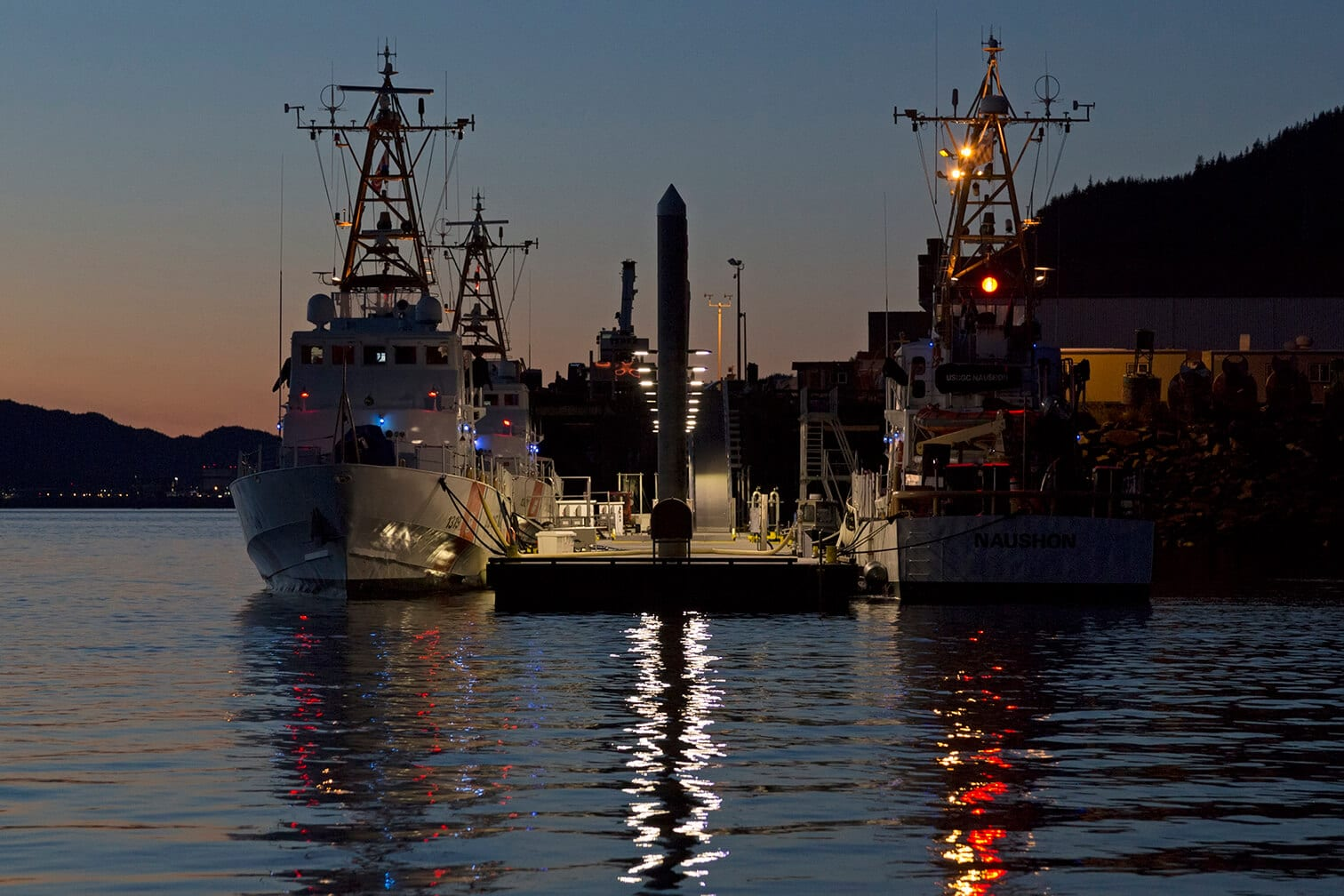 USCG Cutter Homeport at Dusk